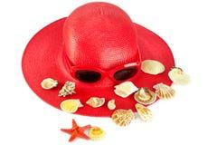 De zomer rode hoed van de vrouw `s Stock Foto's