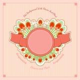 De zomer roze bloemen vectorachtergrond Abstracte installaties in centrum - bladeren van varen, bloemen van kruidnagel, bes Stock Afbeeldingen