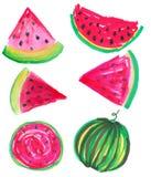 de zomer sappige watermeloen stock illustratie