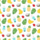 De zomer tropisch patroon met banaan, ananas, palmbladen, kokosnoot, bloem van Hawaï, smoothies op een witte achtergrond Stock Foto's