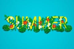 De zomer Tropische Achtergrond Exotische bladeren, bloemen met eenvoudige teksten Gekleurd bloemenbehang met tropische wildernisi royalty-vrije illustratie