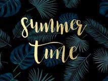 De zomer tropische achtergrond met exotische palmbladen en installaties Stock Foto