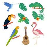 De zomer tropische grafische elementen Papegaai, stock illustratie