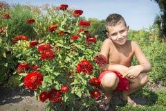 In de zomer, in de tuin op een heldere, zonnige dag, zit de jongen Ne Royalty-vrije Stock Foto's