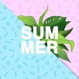 De zomer! Typografische affiche met tropisch bladeren en Memphis patt Stock Afbeeldingen