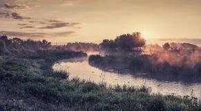 De zomer uitstekend landschap met rivier royalty-vrije stock foto's