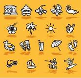 De zomer, vakantie, geplaatste zonpictogrammen Stock Foto's