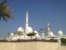 De zomer van de de palmenzon van de V.A.E Abu Dhabi Sheikh Mosque Royalty-vrije Stock Foto