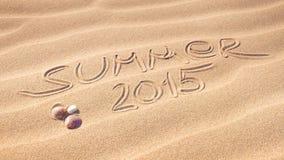 De zomer van 2015 handschrift op het zand Royalty-vrije Stock Afbeeldingen