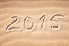 De zomer van 2015 handschrift op het zand Stock Afbeelding