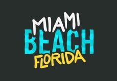 De Zomer van het Strandflorida van Miami Typografisch het Van letters voorzien Afficheontwerp Royalty-vrije Stock Foto