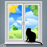 De zomer van het venster en van de kat Stock Foto