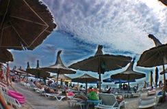 De zomer van 2014 op het strand van Jupiter - Constanta, Roemenië Stock Foto