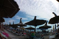 De zomer van 2014 op het strand van Jupiter - Constanta, Roemenië Stock Fotografie