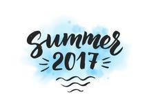 De zomer van 2017 tekst, hand het getrokken borstel van letters voorzien De zomeretiket vector illustratie
