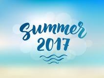 De zomer van 2017 tekst, hand het getrokken borstel van letters voorzien De zomeretiket Stock Afbeelding