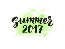 De zomer van 2017 tekst, hand het getrokken borstel van letters voorzien De zomeretiket Royalty-vrije Stock Afbeeldingen