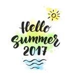 De zomer van 2017 tekst, hand het getrokken borstel van letters voorzien Groot voor partij Royalty-vrije Stock Foto