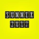 De zomer van 2017 tiksymbool Vectorscorebordillustratie Zwart-wit teken op gele achtergrond Stock Afbeeldingen