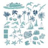 De zomer vastgestelde tropische planten marine en waterdieren Het eiland met palm onder oceaan, verschillende dolfijnenzeemeeuwen vector illustratie