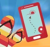 De zomer vectorillustratie met mobiel Royalty-vrije Stock Afbeeldingen