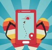 De zomer vectorillustratie met mobiele gps Stock Afbeeldingen