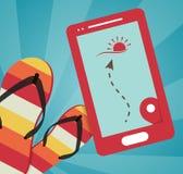 De zomer vectorillustratie met mobiele gps Stock Fotografie