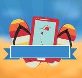 De zomer vectorillustratie met mobiele gps navigatie Royalty-vrije Stock Afbeeldingen
