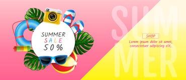 De zomer, verkoop, lay-outontwerp, malplaatjeontwerp, grafische illustrat royalty-vrije stock foto's