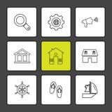 de zomer, voedsel, vications, spelen, eps pictogrammen geplaatst vector stock illustratie