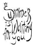 De zomer wacht op u die van letters voorzien De prentbriefkaar van de kalligrafiezomer of de typografieelement van het affiche gr Stock Afbeelding