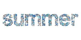 De zomer - woord in beelden - concept voor de zomer. Stock Afbeeldingen