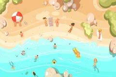 De zomer zandig strand met vakantiegangers vector illustratie
