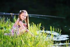 De zomer, zon, kind, meer Stock Afbeelding