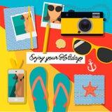 De zomerachtergrond, geniet van uw vakantie, manier, betoverende manierreeks toebehoren van de vrouwen` s zomer, vector Royalty-vrije Stock Afbeelding