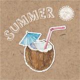 De zomerachtergrond Hand getrokken illustratie op kraftpapier terug Royalty-vrije Stock Afbeeldingen
