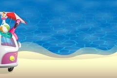 De zomerachtergrond - mening voor zandig strand met roze kampeerauto op linkerkant stock illustratie