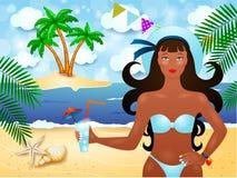 De zomerachtergrond met aantrekkelijk meisje en tropisch eiland Stock Fotografie