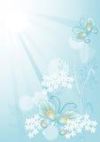 De zomerachtergrond met bloemen en vlinders Royalty-vrije Stock Afbeeldingen