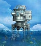 De zomerachtergrond met een steampunk overzees platform stock illustratie