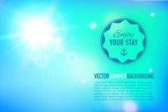 De zomerachtergrond met een zon met lensgloed die is gebarsten stock illustratie