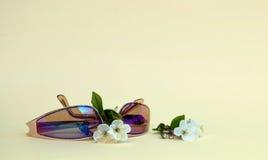 De zomerachtergrond met glazen en bloemen recreatie stock fotografie