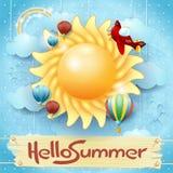 De zomerachtergrond met groot zon en bericht Royalty-vrije Stock Fotografie