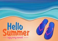 De zomerachtergrond met het overzees en de wipschakelaars Royalty-vrije Stock Foto's