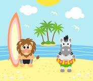 De zomerachtergrond met leeuw en zebra op het strand Stock Afbeeldingen