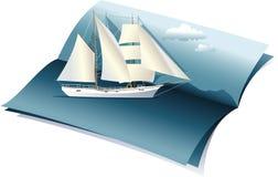 De zomerachtergrond met overzees en boot Stock Foto's