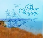 De zomerachtergrond met schip Stock Fotografie