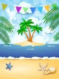 De zomerachtergrond met slinger en tropisch eiland Royalty-vrije Stock Afbeelding