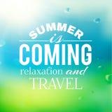 De zomerachtergrond met tekst Stock Foto