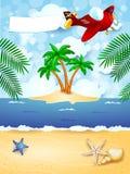 De zomerachtergrond met vliegtuig en lege banner Stock Afbeeldingen